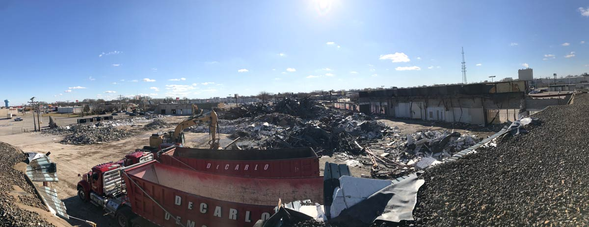 Birds eye photo of a large demolition site